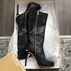 MK Tall Black Leather Boot